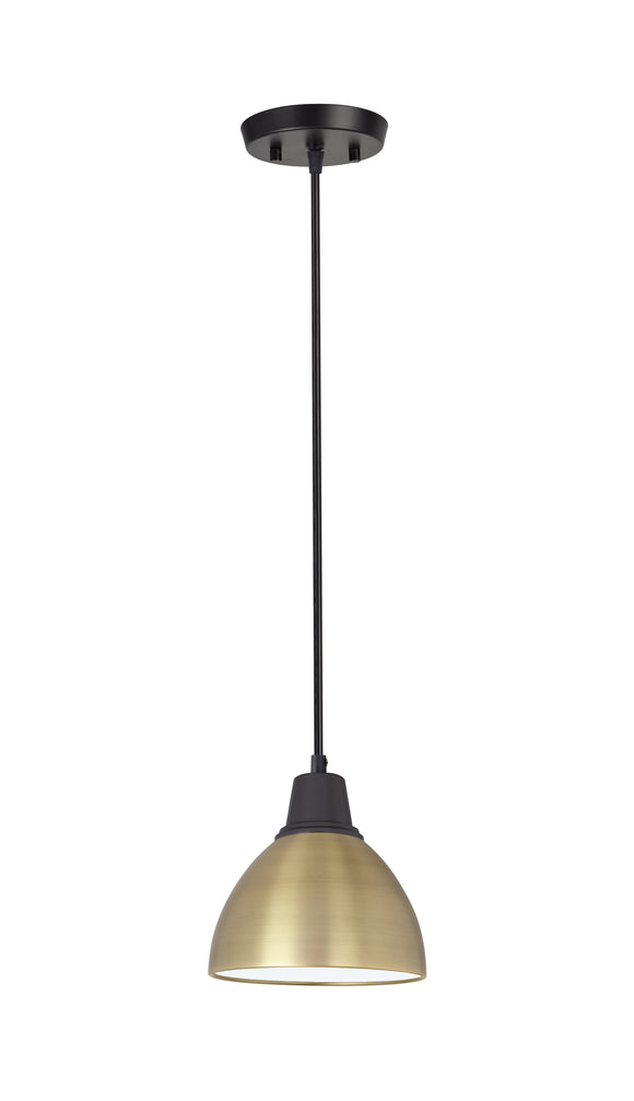 # 61111-11, One-Light Hanging Mini Pendant Ceiling Light, Transitional Design in Bronze & Gold Finish, 6