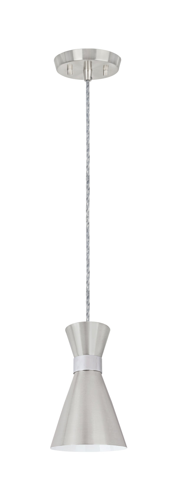 # 61112-11, One-Light Hanging Mini Pendant Ceiling Light, Transitional Design in Satin Nickel & Chrome Finish, 5