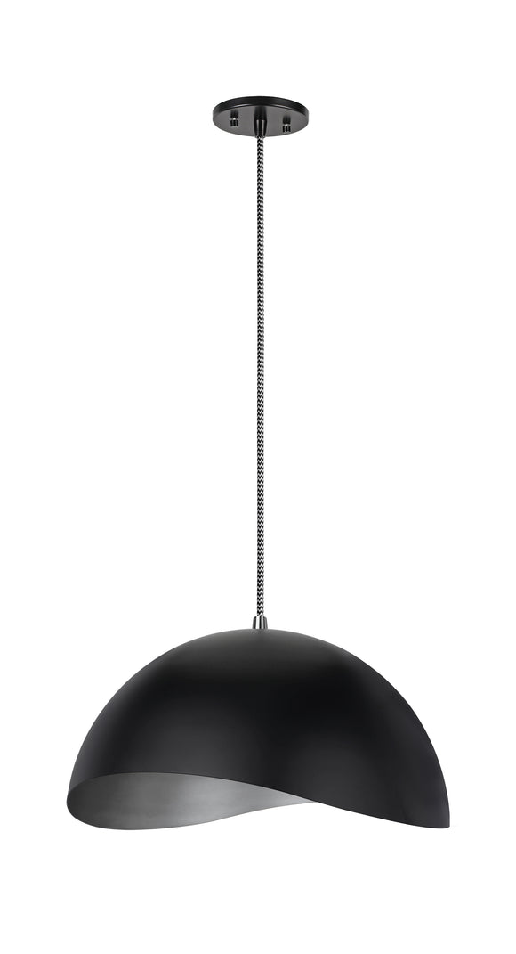 # 61124-11, One-Light Hanging Mini Pendant Ceiling Light, Transitional Design in Matte Black Finish, Metal Shade, 15
