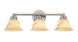 "# 62002 3 Light Metal Bathroom Vanity Wall Light Fixture, 23 1/2"" W, Transitional Design, Satin Nickel, Faux Alabaster Glass Shade"