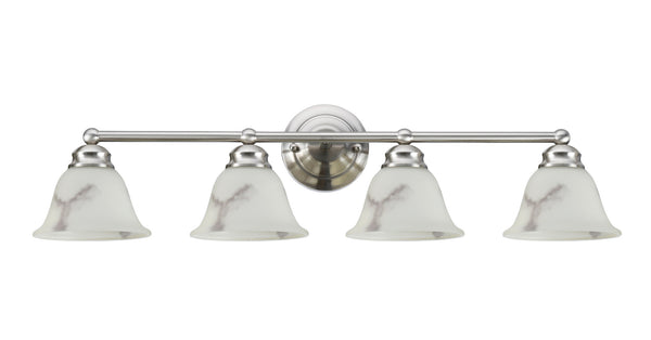 "# 62003 4 Light Metal Bathroom Vanity Wall Light Fixture, 32"" W, Transitional Design, Satin Nickel, Faux Alabaster Glass Shade"