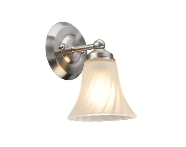 "# 62004 1 Light Metal Bathroom Vanity Wall Light Fixture, 23"" W, Transitional Design, Satin Nickel with Satin Etched Swirl Glass"
