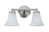 "# 62005 2 Light Metal Bathroom Vanity Wall Light Fixture, 13 7/8"" W, Transitional Design in Satin Nickel with Satin Etched Swirl Glass"
