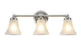 "# 62006 3 Light Metal Bathroom Vanity Wall Light Fixture, 30"" W, Transitional Design, Satin Nickel with Satin Etched Swirl Glass, REGULAR PRICE $63.49 - Now..."