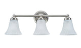 "# 62006, Three-Light Metal Bathroom Vanity Wall Light Fixture, 30"" Wide, Transitional Design in Satin Nickel with Satin Etched Swirl Glass Shade"