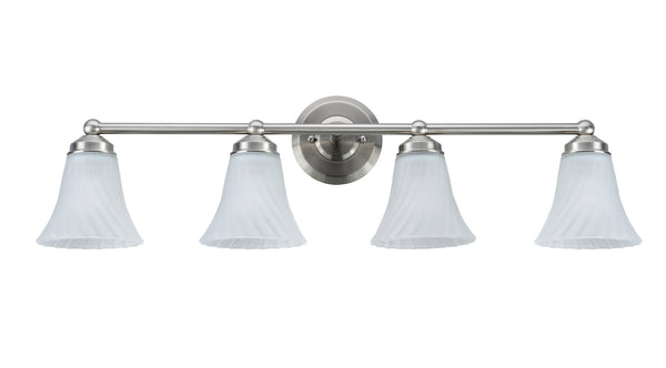 "# 62007  4 Light Metal Bathroom Vanity Wall Light Fixture, 16"" W, Transitional Design, Satin Nickel with Satin Etched Swirl Glass"