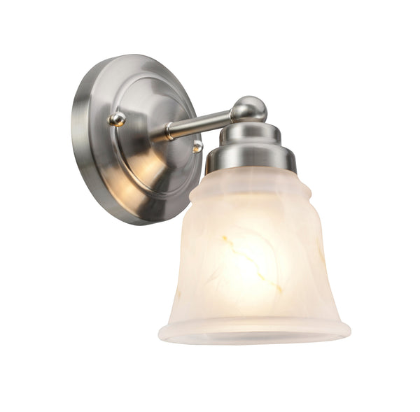 "# 62008-1  1 Light Metal Bathroom Vanity Wall Light, 5"" W, Transitional Design, in Satin Nickel with Faux Alabaster Glass"