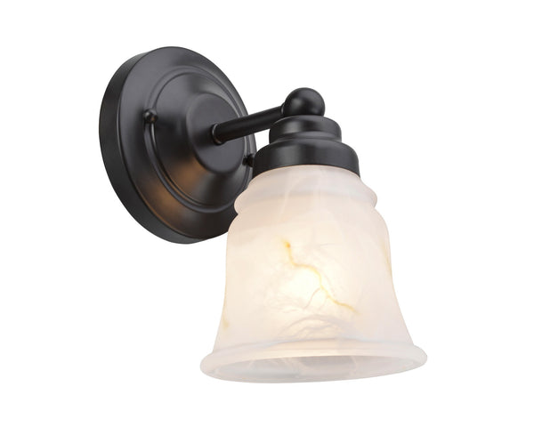 "# 62008-2  1 Light Metal Bathroom Vanity Wall Light Fixture, 5"" W, Transitional Design, Bronze with Faux Alabaster Glass"