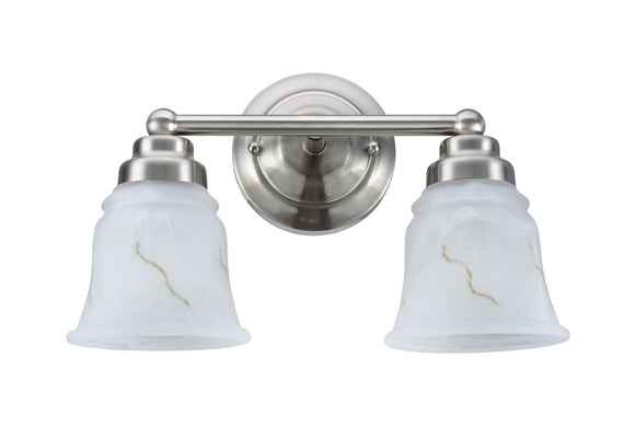 # 62009-1 2 Light Metal Bathroom Vanity Wall Fixture, 13 1/2