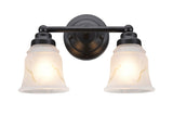 "# 62009-2  2 Light Metal Bathroom Vanity Wall Light Fixture, 13 1/2"" W, Transitional Design, Bronze with Faux Alabaster Glass"