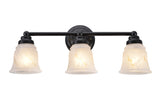 "# 62010-2  3 Light Metal Bathroom Vanity Wall Light Fixture, 22"" W, Transitional Design, Bronze with Faux Alabaster Glass"