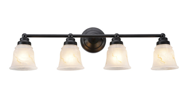 "# 62011-2  4 Light Metal Bathroom Vanity Wall Light Fixture, 4 3/4"" W, Transitional Design, Bronze with Faux Alabaster Glass"