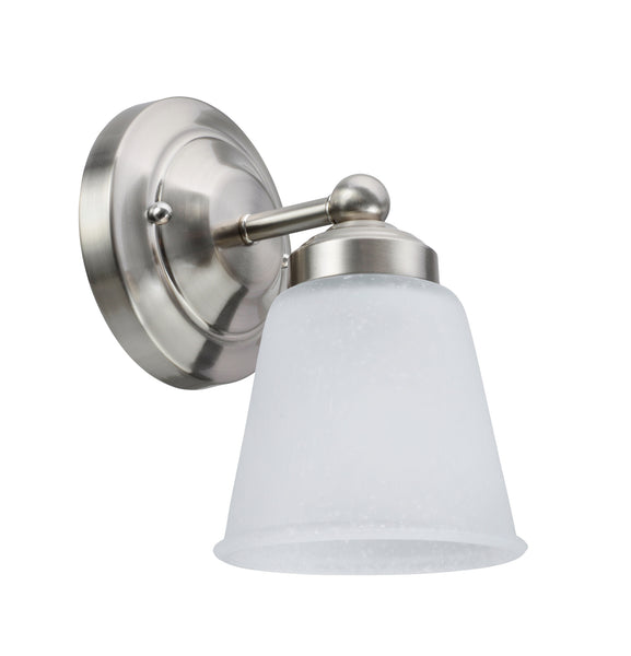 "# 62012-1 1 Light Metal Bathroom Vanity Wall Fixture, 5"" W, Transitional Design, Satin Nickel with Frosted Seeded Glass"