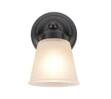 "# 62012-2  1 Light Metal Bathroom Vanity Wall Light Fixture, 5"" W, Transitional Design, Bronze with Frosted Seeded Glass"