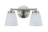 "# 62013-1 2 Light Metal Bathroom Vanity Wall Fixture, 13 1/2"" W, Transitional Design, Satin Nickel with Frosted Seeded Glass"