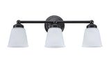 "# 62014-2 3 Light Metal Bathroom Vanity Wall Light Fixture, 24"" W, Transitional Design, Bronze with Frosted Seeded Glass"