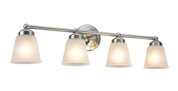 "# 62015-1 4 Light Metal Bathroom Vanity Wall Fixture, 15 1/2"" W, Transitional Design, Satin Nickel with Frosted Seeded Glass"