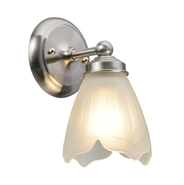 "# 62016-1 1 Light Metal Bathroom Vanity Wall Fixture, 5"" W, Transitional Design,  Satin Nickel, Satin Etched Tulip Glass"