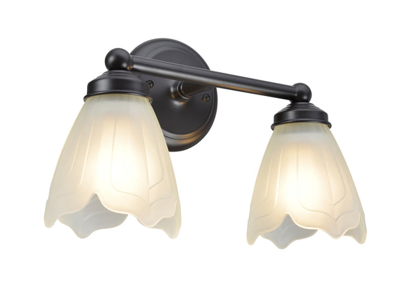 "# 62017-2 2 Light Metal Bathroom Vanity Wall  Fixture, 13 1/2"" W, Transitional Design in Bronze with Satin Etched Tulip Glass"