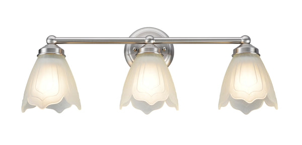 "# 62018-1 3 Light Metal Bathroom Vanity Wall Fixture, 22"" W, Transitional Design, Satin Nickel with Satin Etched Tulip Glass"