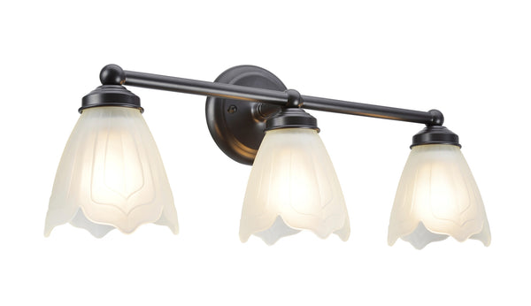 "# 62018-2  3 Light Metal Bathroom Vanity Wall  Light Fixture, 22"" W, Transitional Design, Bronze with Satin Etched Tulip Glass"