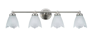 "# 62019-1 4 Light Metal Bathroom Vanity Wall Light Fixture, 15 1/2"" W, Transitional Design, Satin Nickel with Etched Tulip Glass"