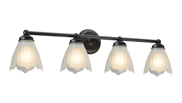"# 62019-2 4 Light Metal Bathroom Vanity Wall Light Fixture, 15 1/2"" W, Transitional Design, Bronze with Etched Tulip Glass"