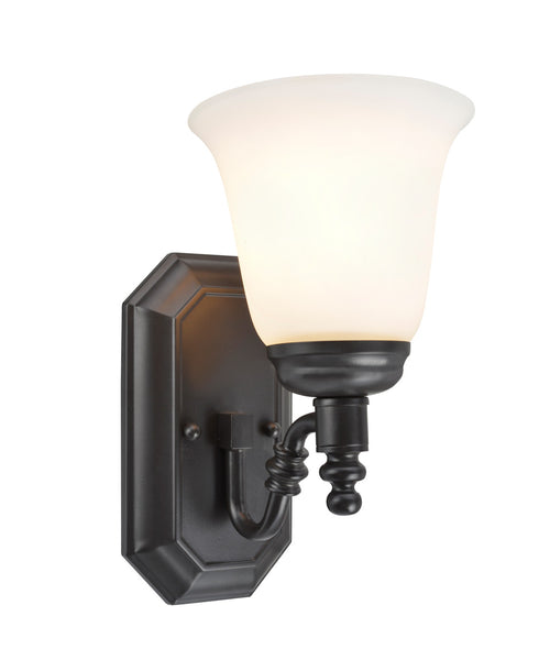 "# 62020-1  1 Light Metal Bathroom Vanity Wall Light Fixture, 6"" W, Transitional Design, Oil Rubbed Bronze, Frosted Glass"