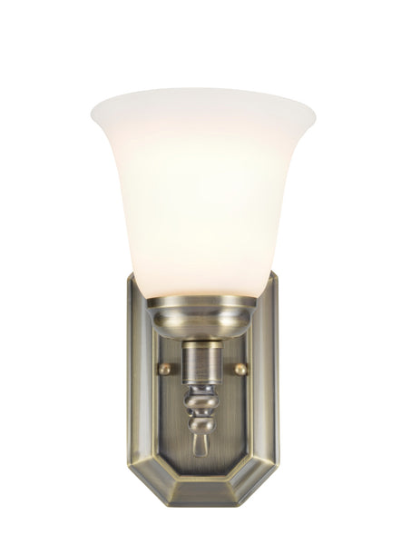 "# 62020-3 1 Light Metal Bathroom Vanity Wall Light Fixture, 6"" W, Transitional Design, Antique Brass with Frosted Glass"
