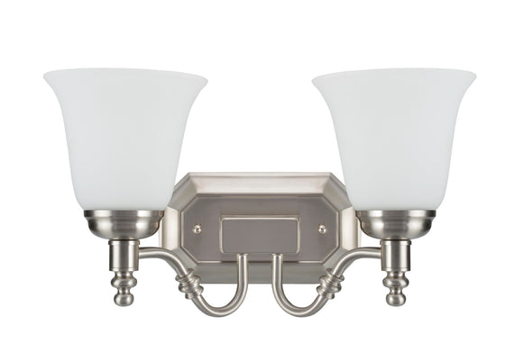 # 62021-2, Two-Light Metal Bathroom Vanity Wall Light Fixture, 15 1/2