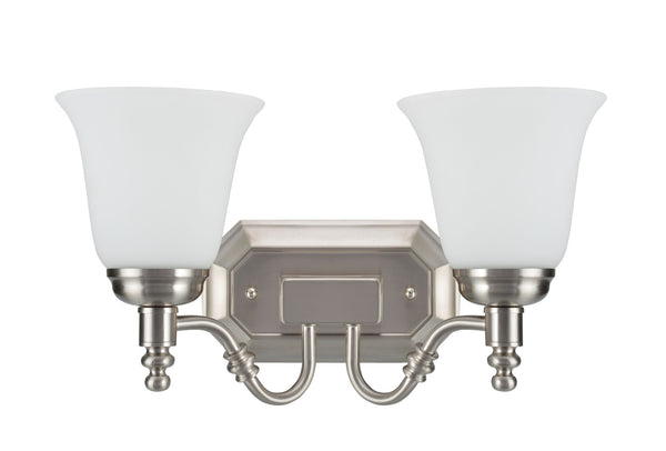 "# 62021-2  2 Light Metal Bathroom Vanity Wall Light Fixture, 15 1/2"" W, Transitional Design, Satin Nickel with Frosted Glass"