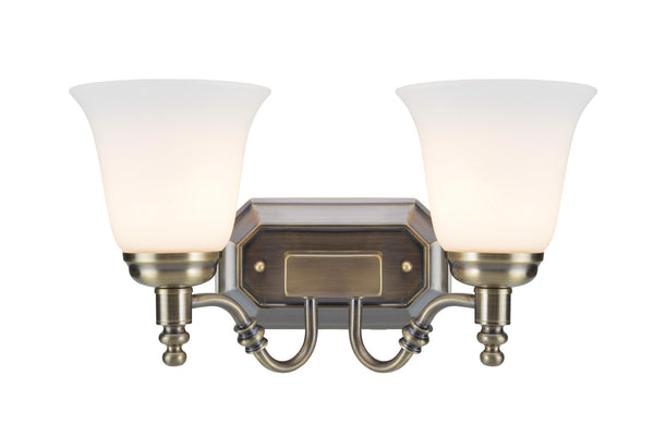 "# 62021-3  2 Light Metal Bathroom Vanity Wall Light Fixture, 6"" W, Transitional Design, Antique Brass with Frosted Glass"