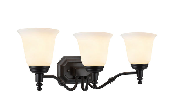 "# 62022-1  3 Light Metal Bathroom Vanity Wall Fixture, 23"" W, Transitional Design, in Oil Rubbed Bronze with Frosted Glass"