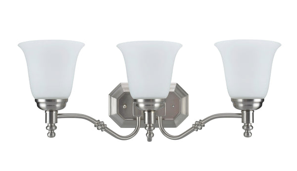 "# 62022-2  3 Light Metal Bathroom Vanity Wall Light Fixture, 23"" W, Transitional Design, Satin Nickel with Frosted Glass"
