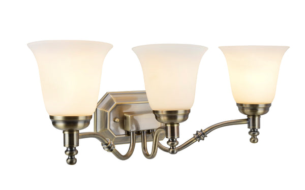 "# 62022-3  3 Light Metal Bathroom Vanity Wall Light Fixture, 23"" W, Transitional Design, Antique Brass with Frosted Glass"