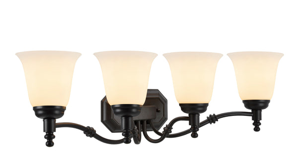 "# 62023-1  4 Light Metal Bathroom Vanity Wall Fixture, 30"" W, Transitional Design, in Oil Rubbed Bronze with Frosted Glass"