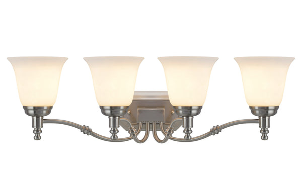 "# 62023-2  4 Light Metal Bathroom Vanity Wall Light Fixture, 30"" W , Transitional Design in Satin Nickel with Frosted Glass"