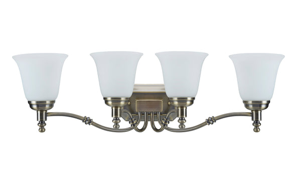 "# 62023-3 4 Light Metal Bathroom Vanity Wall Light Fixture, 30"" W, Transitional Design, Antique Brass with Frosted Glass"