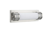"# 62049 Metal LED Bathroom Vanity Wall Light Fixture, 12"" Wide, Contemporary Design in Brushed Nickel with Opal Glass Diffuser"