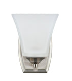 "# 62052 1 Light Metal Bathroom Vanity Wall Light Fixture, 4 3/4"" W, Transitional Design, Brushed Nickel with Etched White Glass"