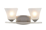 "# 62053 2 Light Metal Bathroom Vanity Wall Light Fixture, 16"" W, Transitional Design, Brushed Nickel with Etched White Glass"