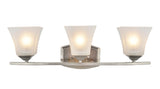 "# 62054  3 Light Metal Bathroom Vanity Wall Light Fixture, 24"" W, Transitional Design, Brushed Nickel with Etched White Glass"