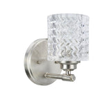 "# 62056 1 Light Metal Bathroom Vanity Wall Light Fixture, 5 1/2"" Wide, Transitional Design, Brushed Nickel with Clear Glass"