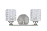 "# 62057 2 Light Metal Bathroom Vanity Wall Light Fixture, 14 1/2"" Wide, Transitional Design in Brushed Nickel with Clear Glass"