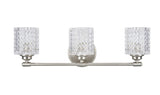 "# 62058 3 Light Metal Bathroom Vanity Wall Light Fixture, 24"" Wide, Transitional Design, in a Brushed Nickel with Clear Glass"