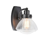 "# 62060 1 Light Metal Bathroom Vanity Wall Light Fixture, 6 3/4"" Wide, Transitional Design in Black with Clear Seedy Glass"