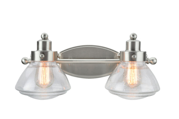 "# 62061-2 2 Light Metal Bathroom Vanity Wall Light Fixture, 17 1/2"" Wide, Transitional Design in Satin Nickel with Clear Seedy Glass Shade"