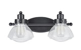 "# 62061 2 Light Metal Bathroom Vanity Wall Light Fixture, 17 1/2"" Wide, Transitional Design in Black with Clear Seedy Glass"