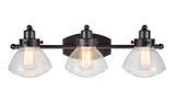 "# 62062 3 Light Metal Bathroom Vanity Wall Light Fixture, 24 3/4"" Wide, Transitional Design, Black with Clear Seedy Glass"
