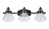 "# 62062 Three-Light Metal Bathroom Vanity Wall Light Fixture, 24 3/4"" Wide, Transitional Design, Black with Clear Seedy Glass"